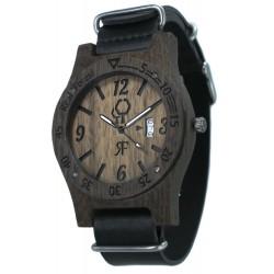 Zegarek drewniany Diver Style Czarny - Skóra