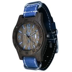 Zegarek drewniany Diver Style Czarno-Niebieski - Skóra