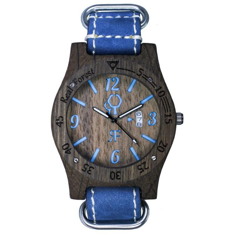 Zegarek drewniany - Diver Style-czarno-niebieski