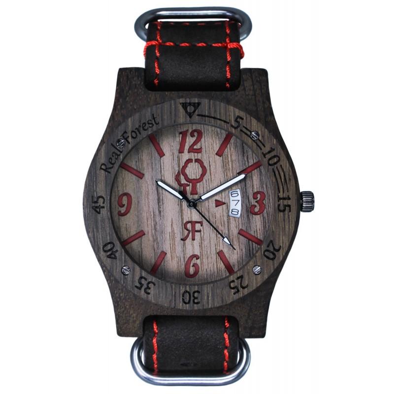 Zegarek drewniany Diver Style Czarno-Czerwony - Skóra