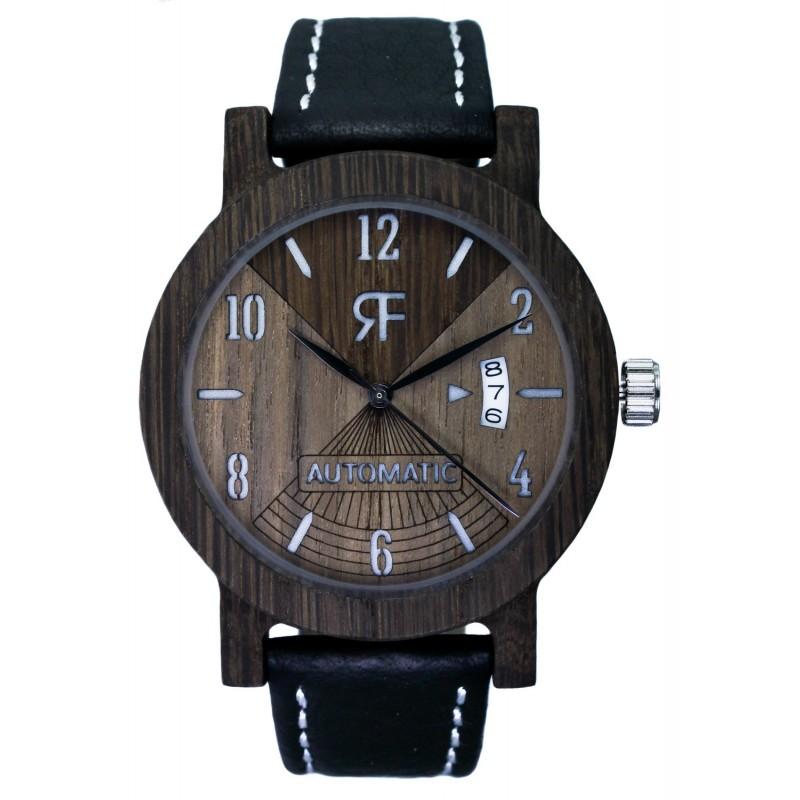 Zegarek drewniany REALFOREST AUTOMATIC - Czarny DĄB-Orzech