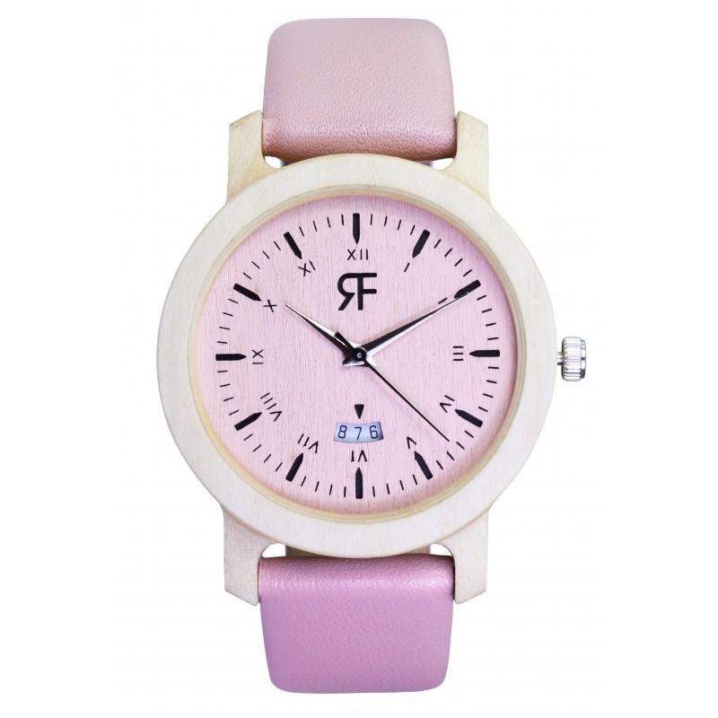 Drewniany zegarek REALFOREST MINI - Klon Pink