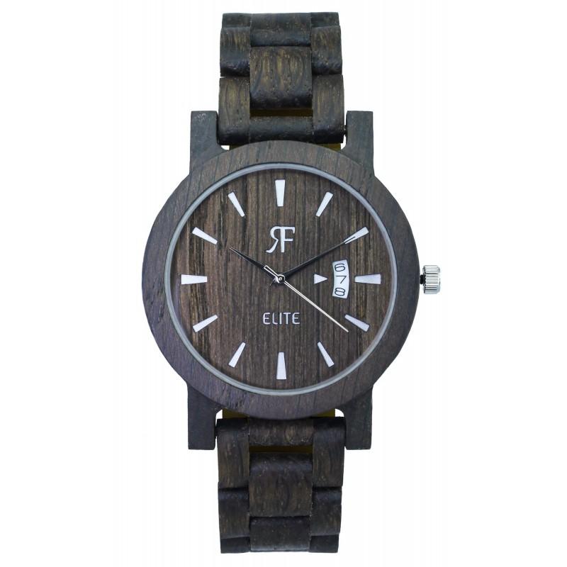 Zegarek drewniany RF ELITE - Czarny DĄB - drewniana bransoleta