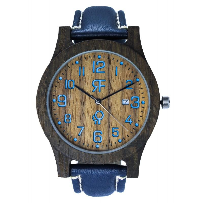Zegarek drewniany Realforest Classic Czarny DĄB-Orzech Amerykański - Niebieski
