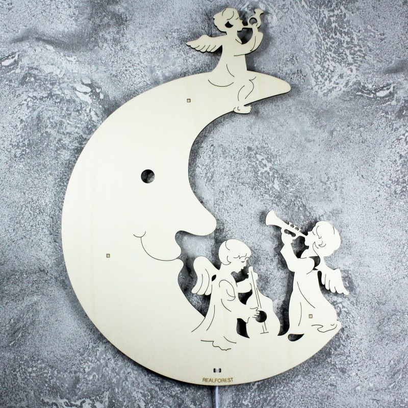Dekoracyjna drewniana lampka nocna - Ksieżyc