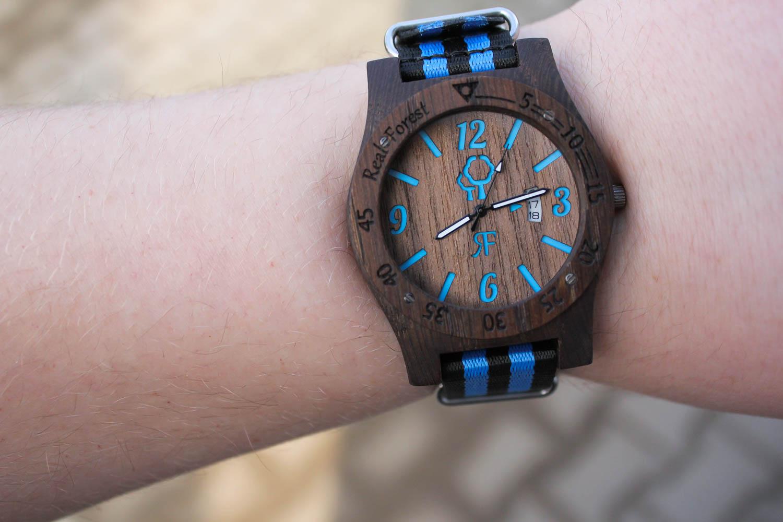Zegarek z drewna Diver Style Czarno-niebieski