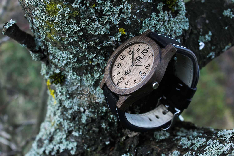 Zegarek drewniany Realforest Classic Czarny Dąb - Orzech amerykański