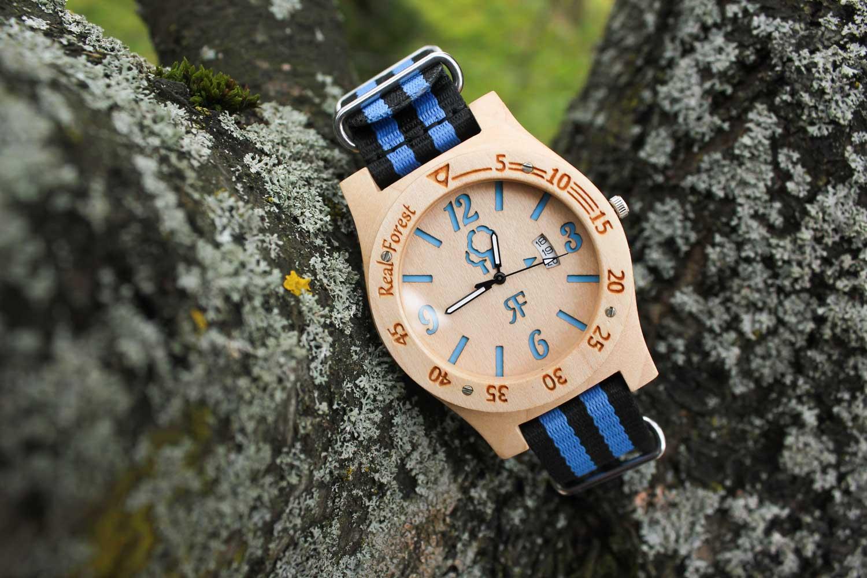 Zegarek drewniany Diver Style Biało Niebieski