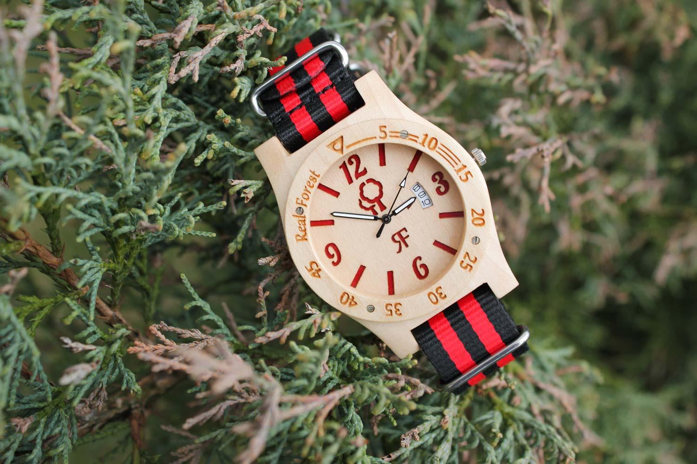 Zegarek drewniany Diver Style Biało Czerwony