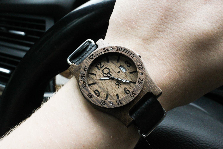 Zegarek z drewna Diver Style Czarny - skóra