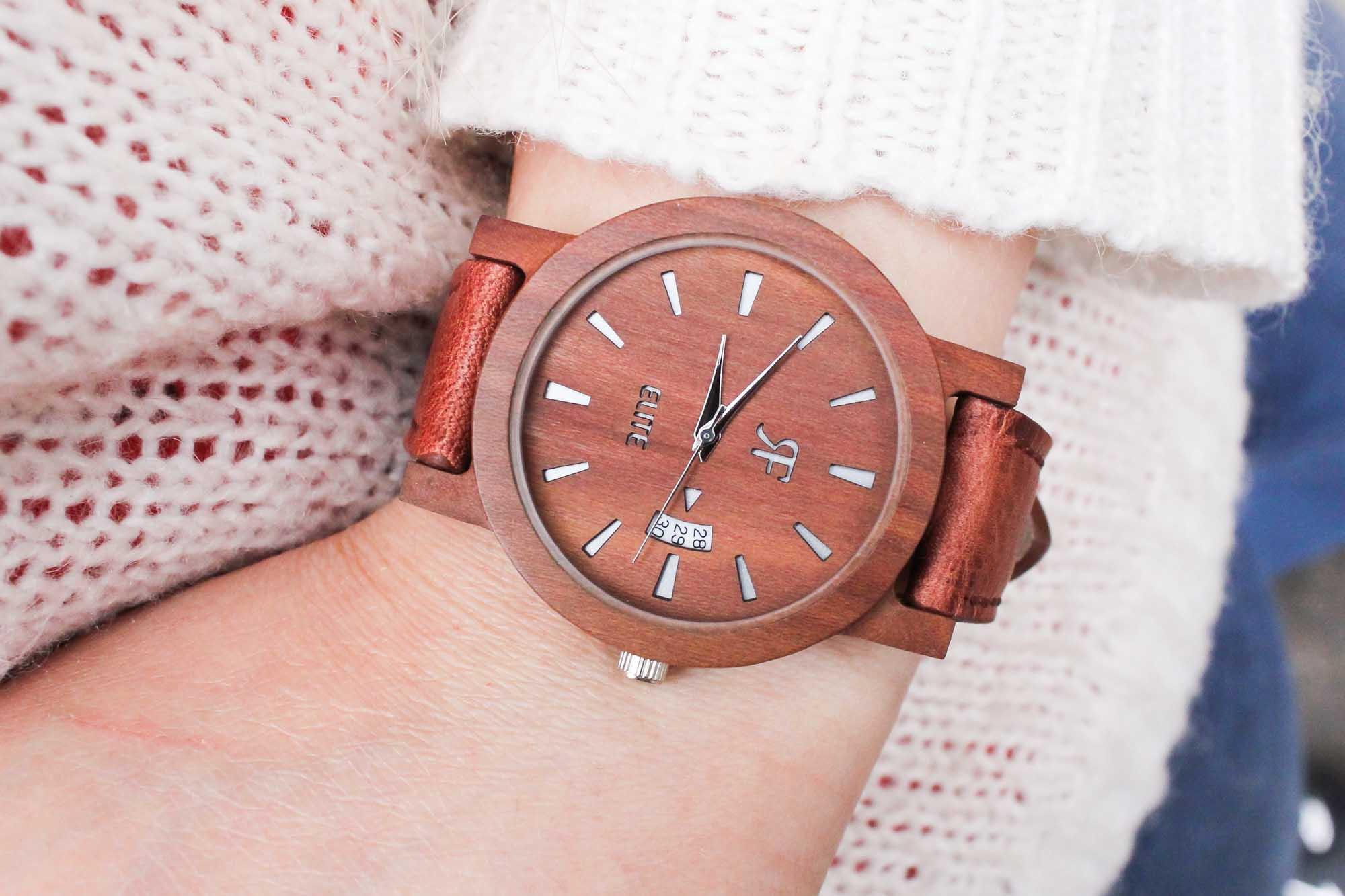 Zegarek drewniany RF Elite - Śliwa