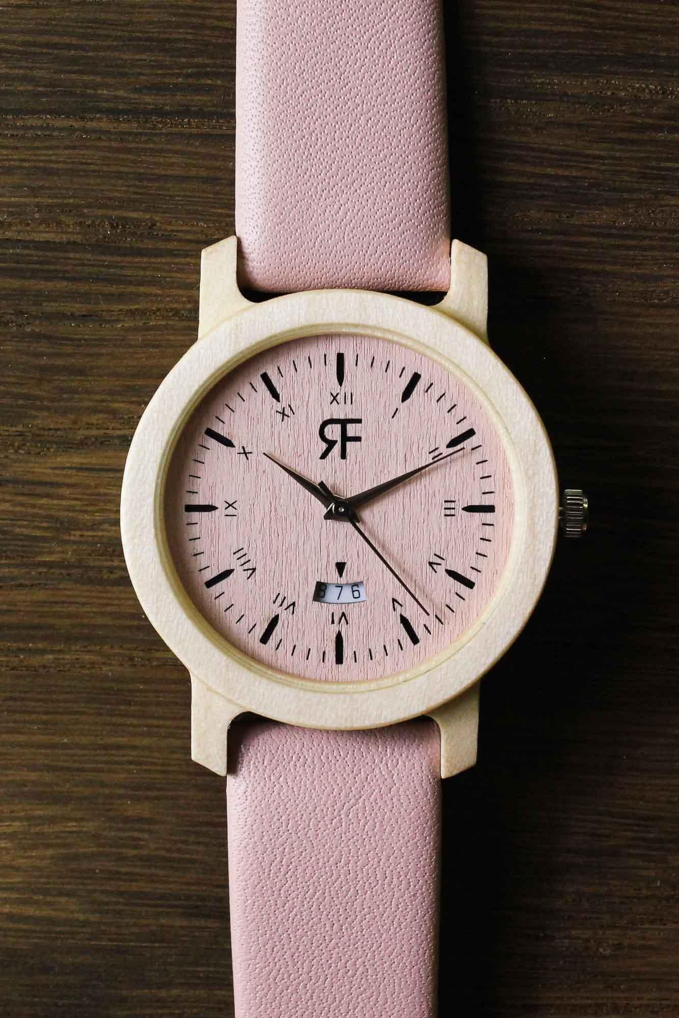 Zegarek drewniany Realforest Mini Klon Pink