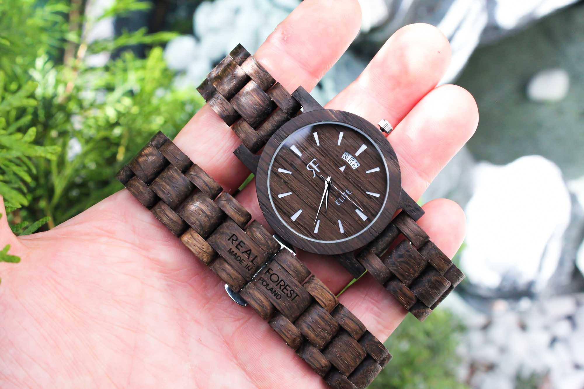 Zegarek drewniany Realforest Elite Czarny Dąb - drewniana bransoleta
