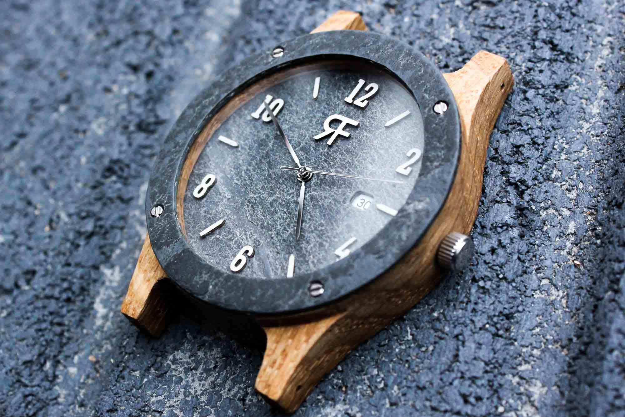 Zegarek drewniany Realforest Stone - kamień łupek