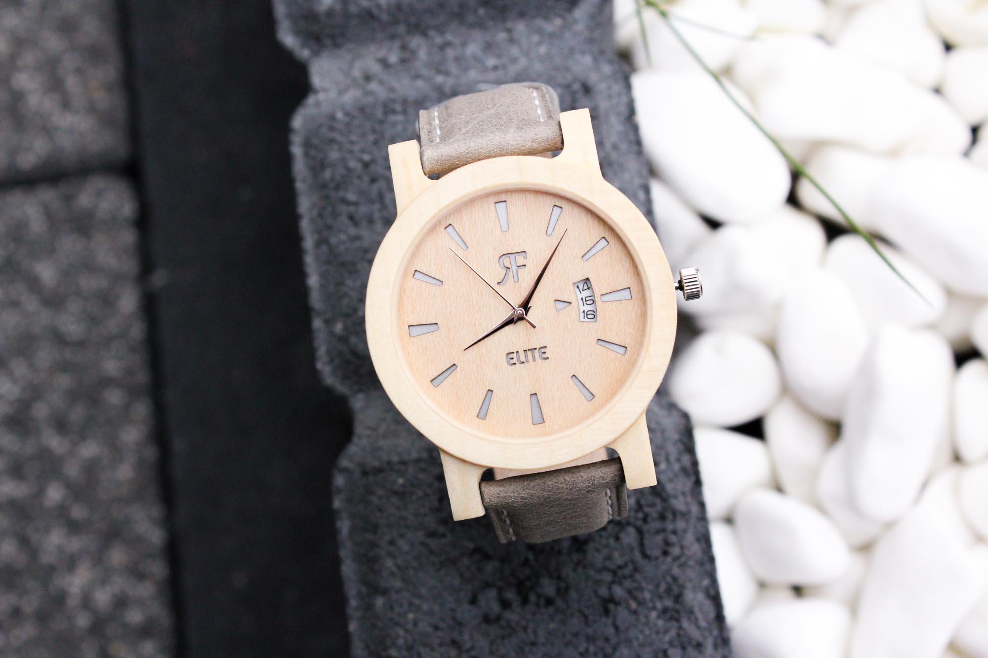 Zegarek drewniany Realforest Elite Srebrny Klon