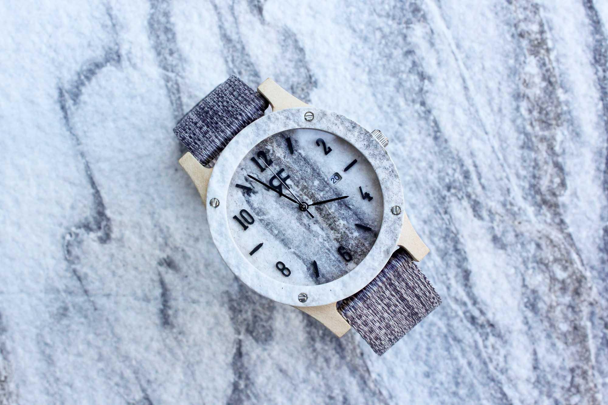 Zegarek drewniany Realforest Stone - kamień marmur