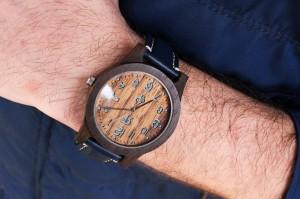 Zegarek drewniany Realforest Classic Czarny Dąb - niebieski